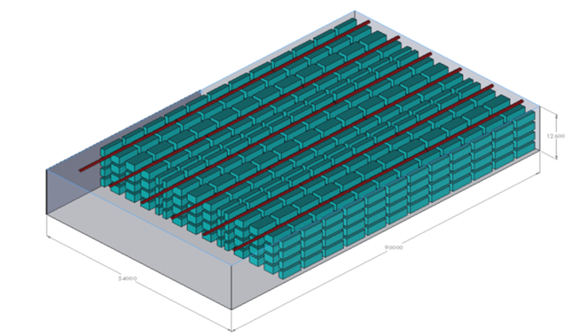 Ejemplo de modelización 3D de una plataforma logística y su vista de corte